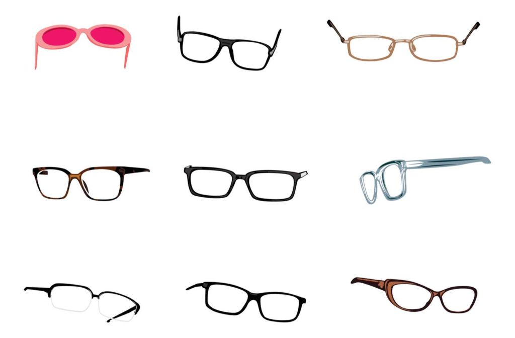 A variety of glasses shapes, styles, and colours on a white background