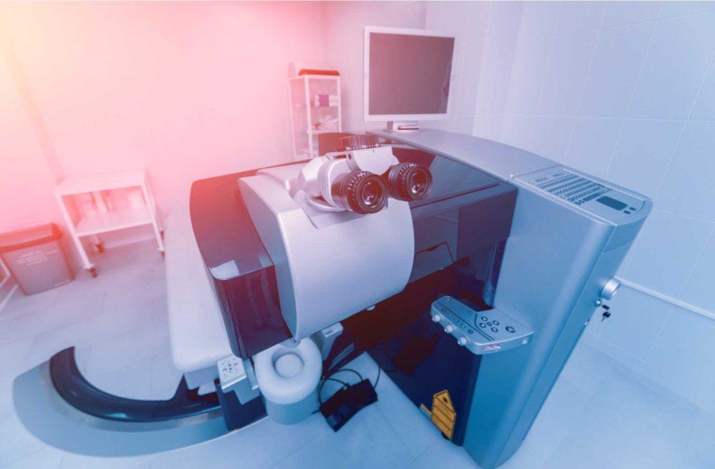 excimer laser equpimetn backlit on red to blue gradient